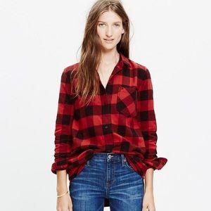 Madewell Buffalo Red Plaid Button Down Top